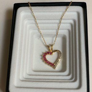 Jewelry - Pink Sapphire and Diamond Heart Pendant Necklace